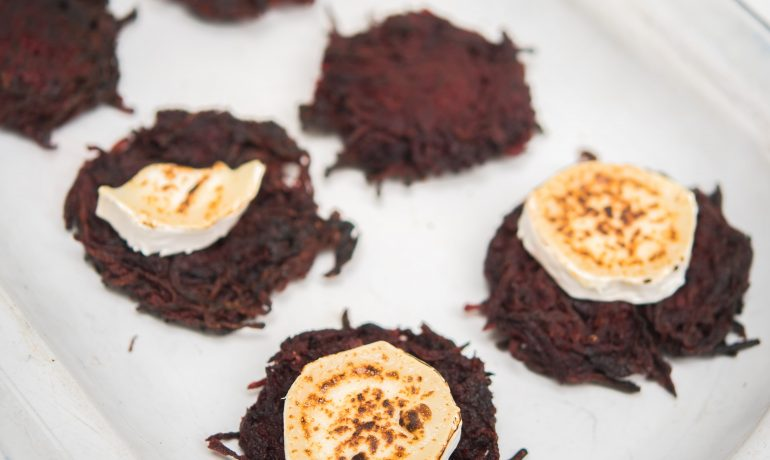 Beetroot latkes with goats cheese