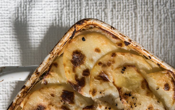 Scalloped potatoes with capers