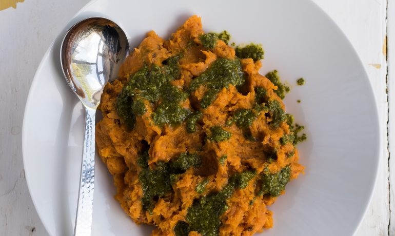 Mashed Sweet Potatoes with Coriander Lime Salsa