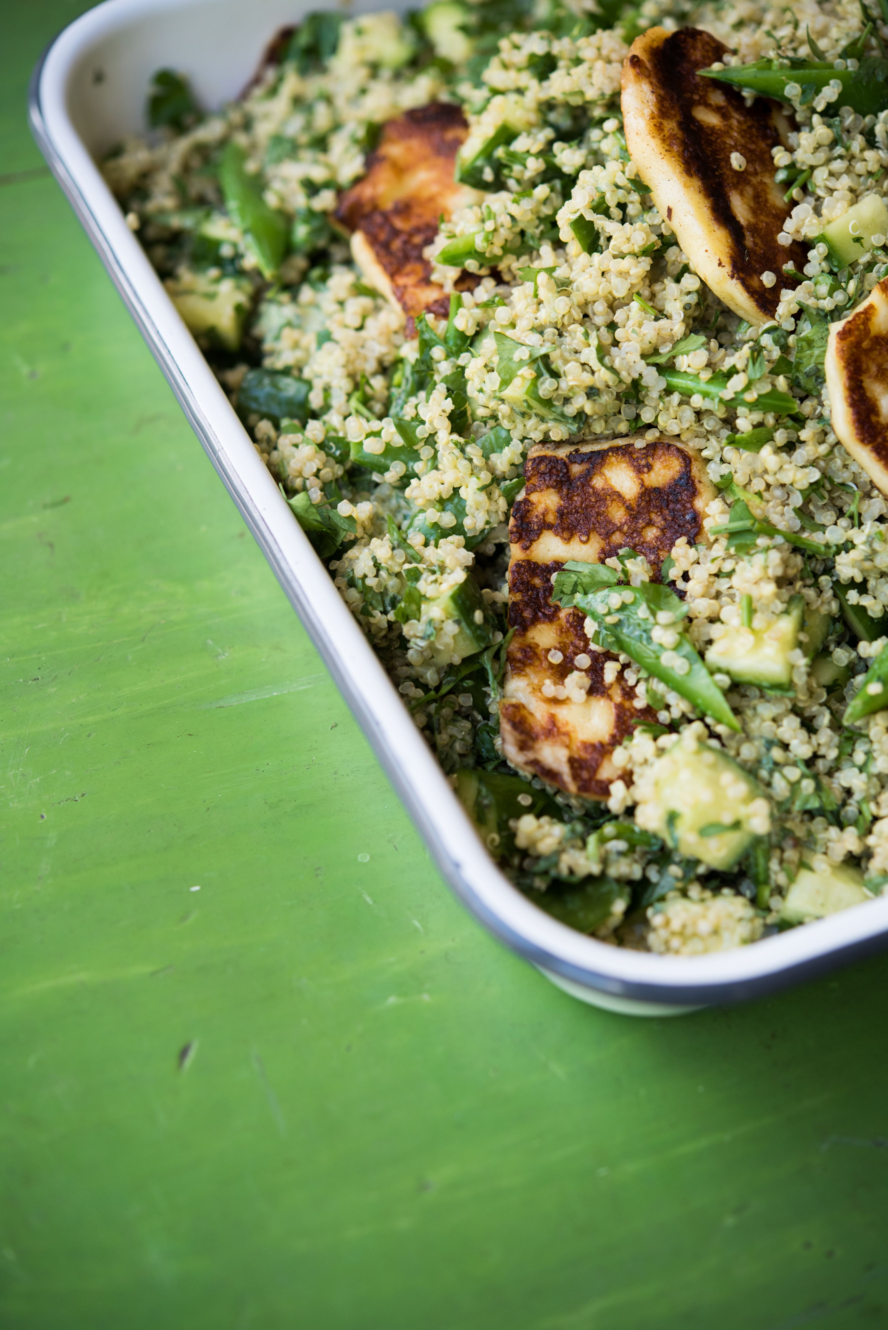 QUINOA AND HALOUMI GREEN GODDESS SALAD