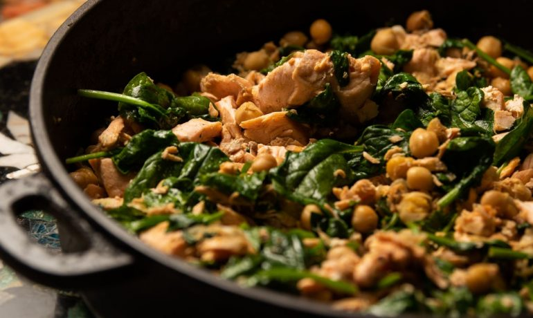 SALMON WITH CHICKPEAS AND RAS EL HANOUT