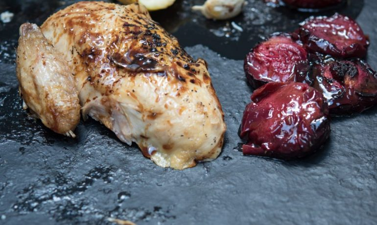 ROASTED CHICKEN WITH PLUMS AND HONEY BOURBON GLAZE