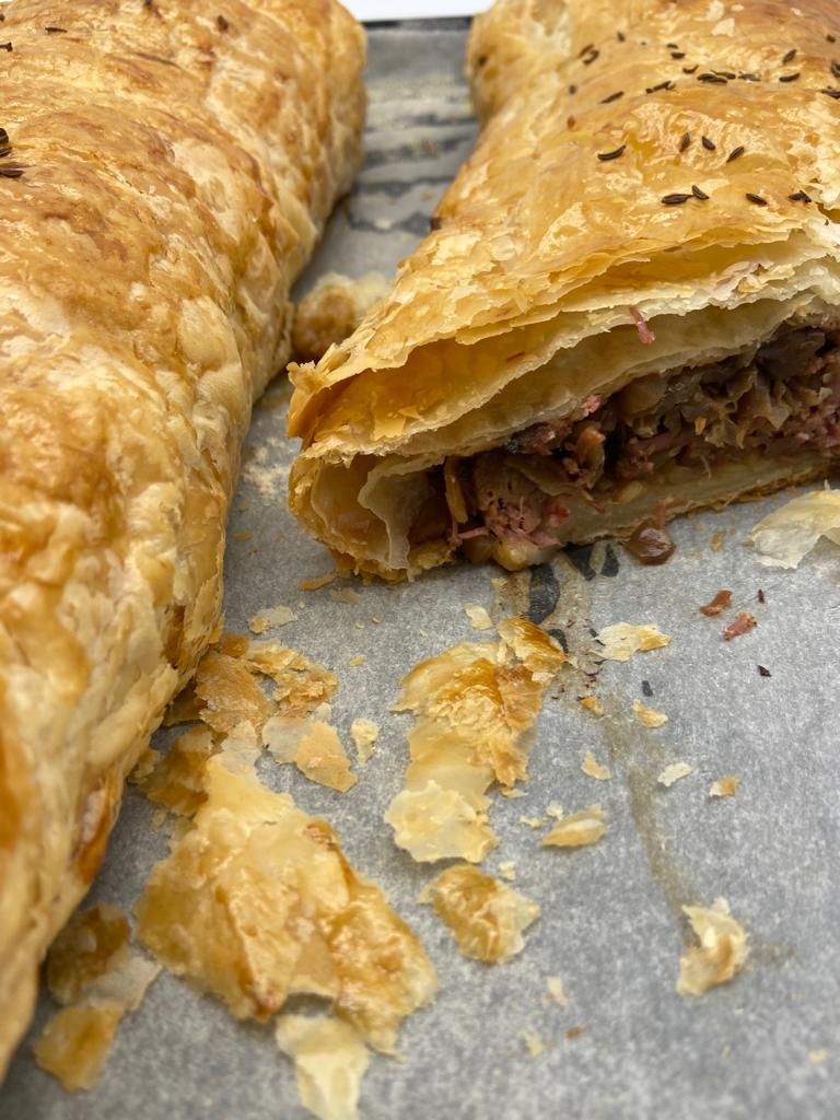 SALT BEEF AND CABBAGE STRUDEL