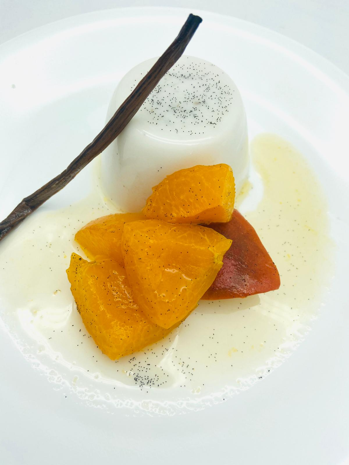 COCONUT PANNACOTTA WITH APRICOT COMPOTE