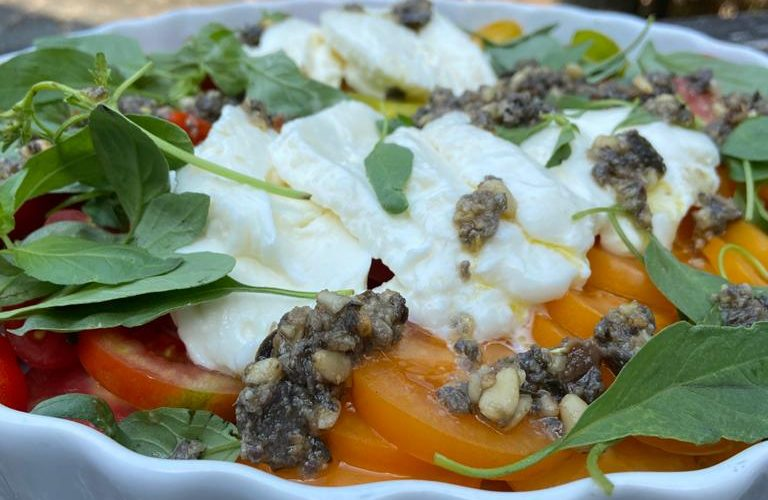 Caprese Salad with Black Olive Topping