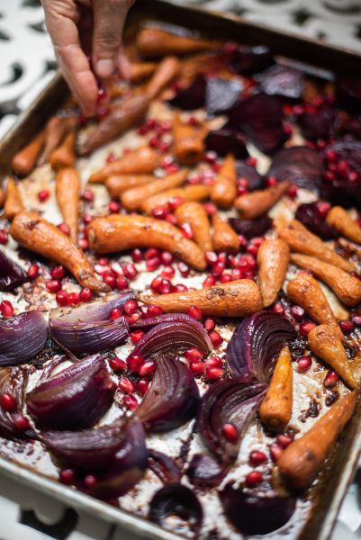 Roasted Carrots and Beetroot with Pomegranate
